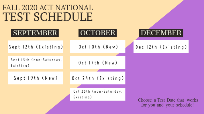 Fall 2020 ACT Test Schedule